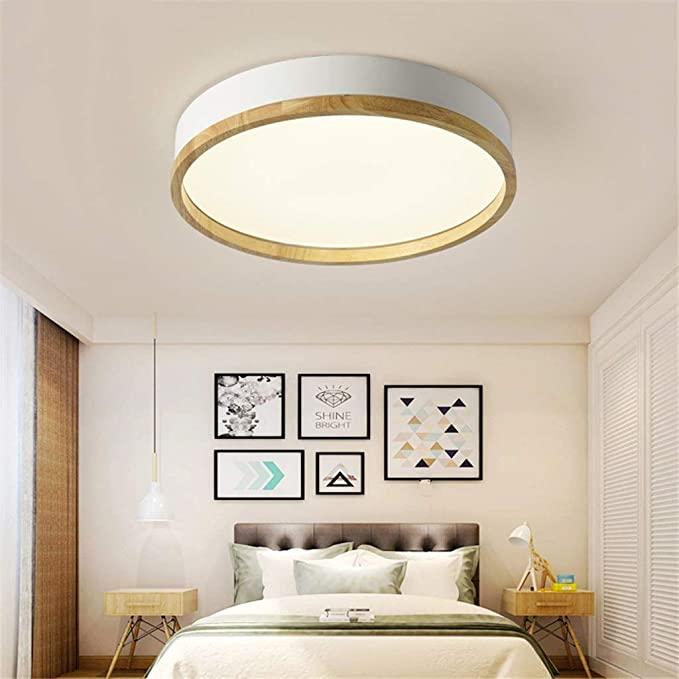 Jinwell Holz Deckenleuchte Weiss Runde Schlafzimmer Lampe Wohnzimmer Lampe Moderne Minimalistisc Lampen Wohnzimmer Schlafzimmer Lampe Deckenleuchte Schlafzimmer