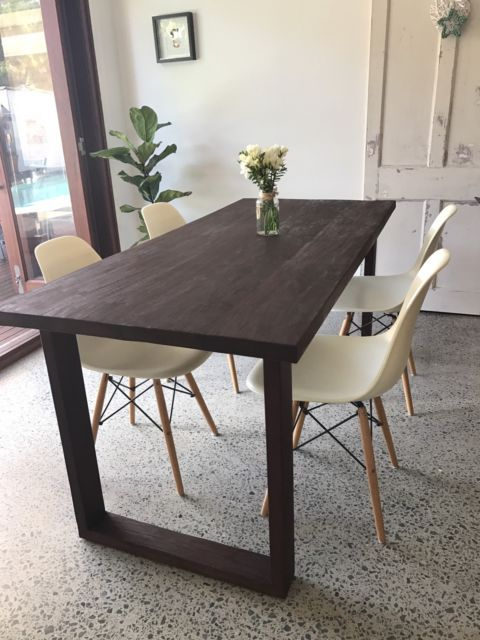 Solid Timber Dining Table Or Could Be Used As A Large Office Desk Made From Recycled Hardwood Modern Leg Design 1800 Long X 790 Wide 760 High
