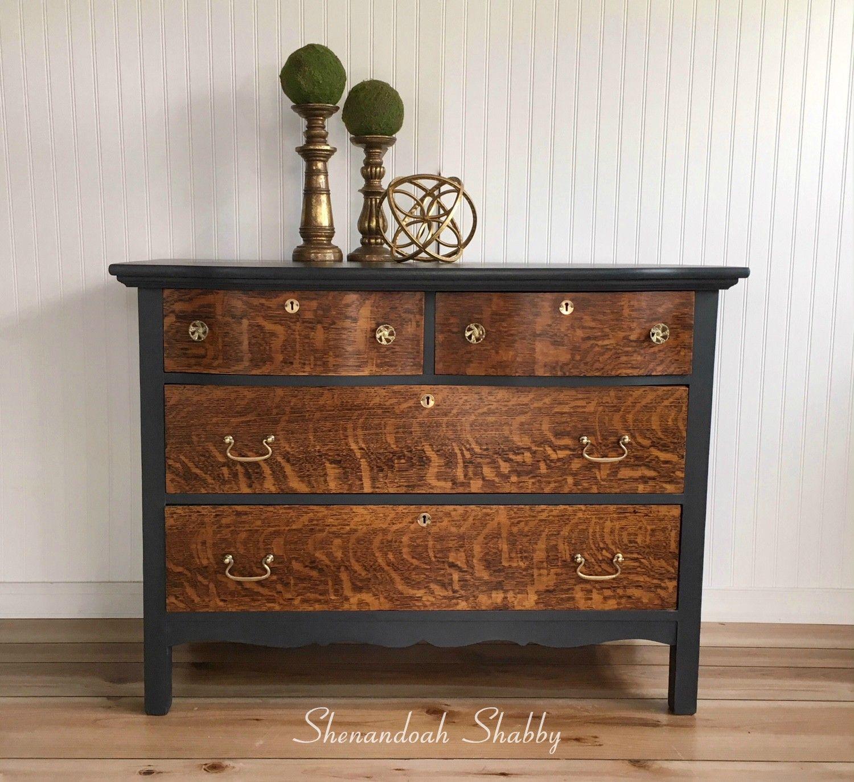 Painted Dresser Natural Tiger Oak Wood