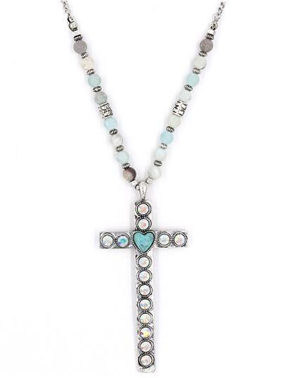 Semi precious stone cross pendant necklace stunning stone semi precious stone cross pendant necklace aloadofball Image collections