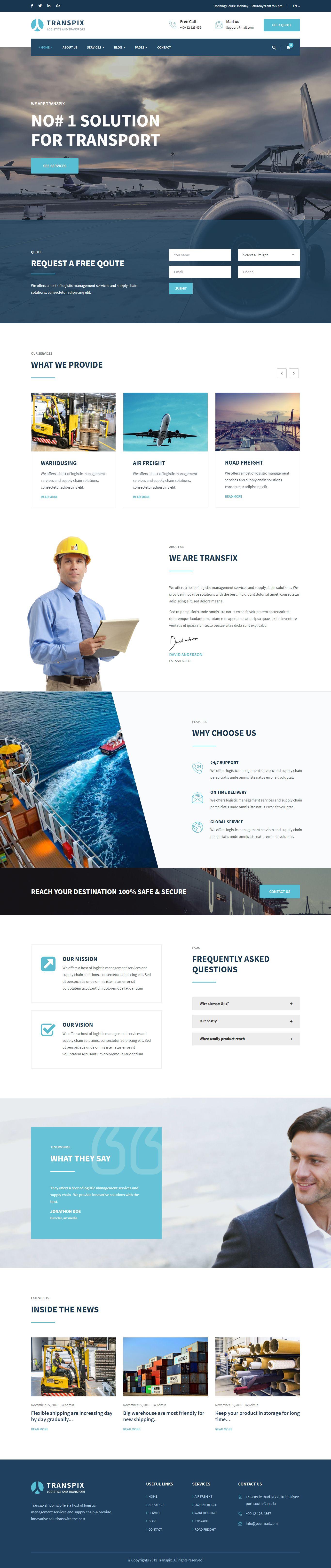 Warehouse Website Template Tutore