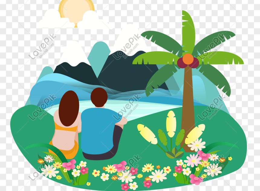 Gambar Kartun Pemandangan Png Ilustrasi Kartun Lelaki Dan Wanita Menonton Pemandangan Download Gambar Pemandangan Kartun Png Ga Gambar Pemandangan Kartun