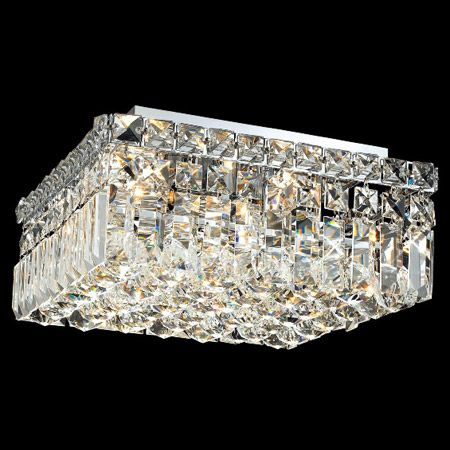 Modern Square Crystal Flush Mount Light Fixture With A Curtain Of