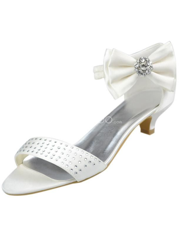 Ivory Satin Bow Rhinestone Low Heel Bridal Sandals See More