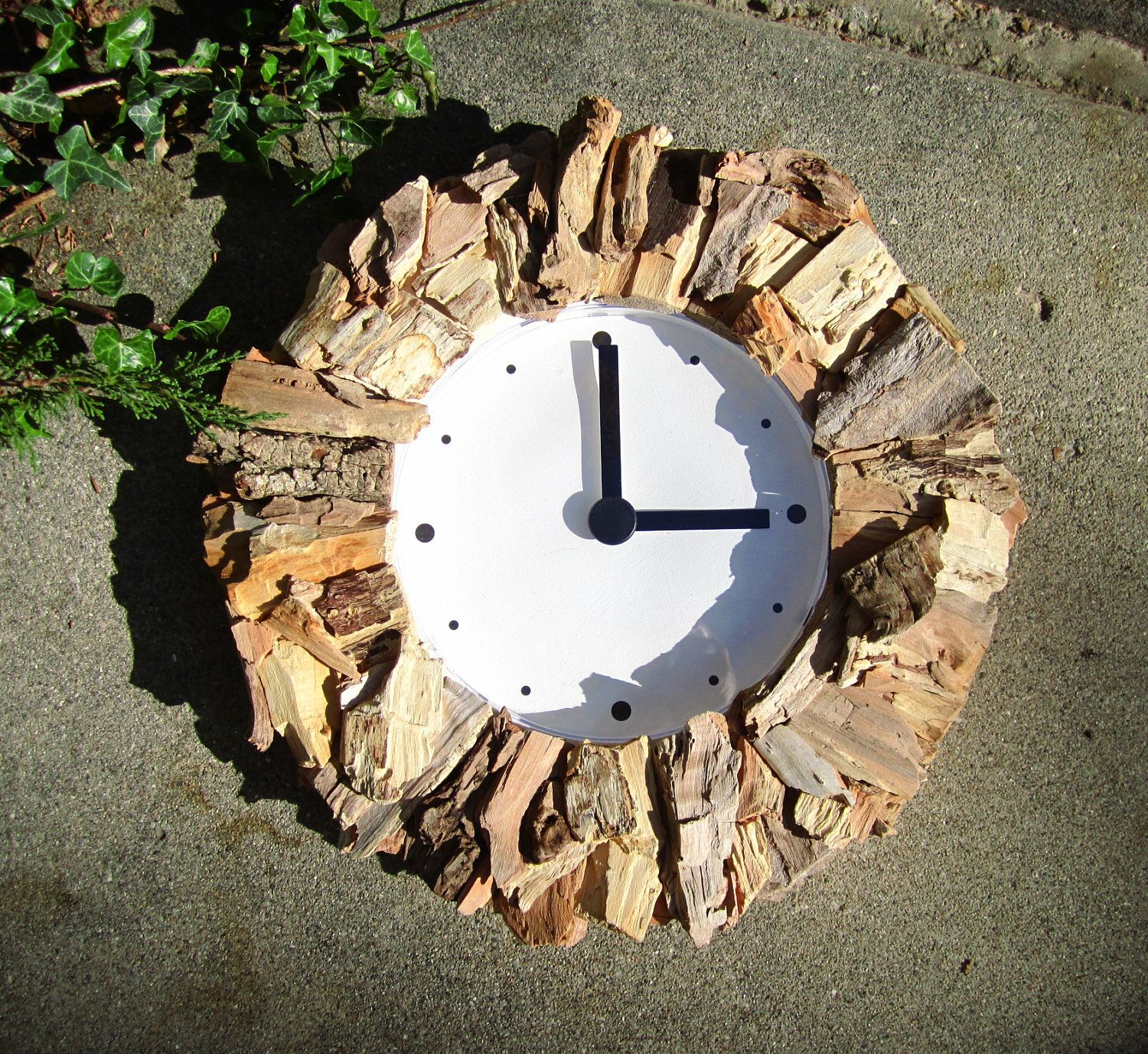 On sale reclaimed wood handcrafted rustic driftwood framed round on sale reclaimed wood handcrafted rustic driftwood framed round wall clock 5200 via etsy amipublicfo Image collections