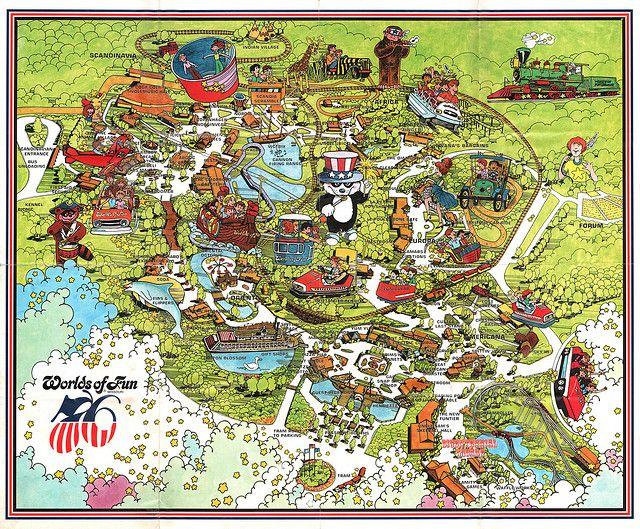 Vintage Worlds Of Fun Souvenir Park Map Poster Kansas City Missourri 1976 Worlds Of Fun Halloween Borders Vintage Halloween