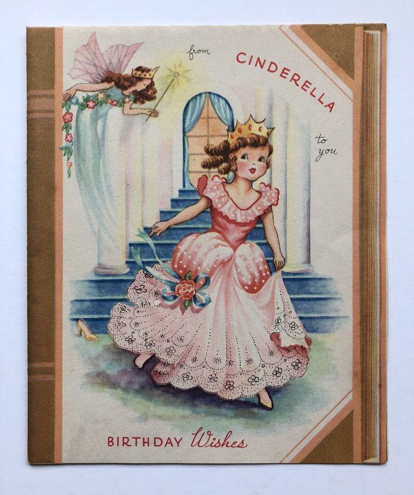 Vintage Book Style Birthday Card Cinderella Dress Fairy Castle Glass Slipper Vintage Birthday Cards Vintage Greeting Cards Vintage Cards