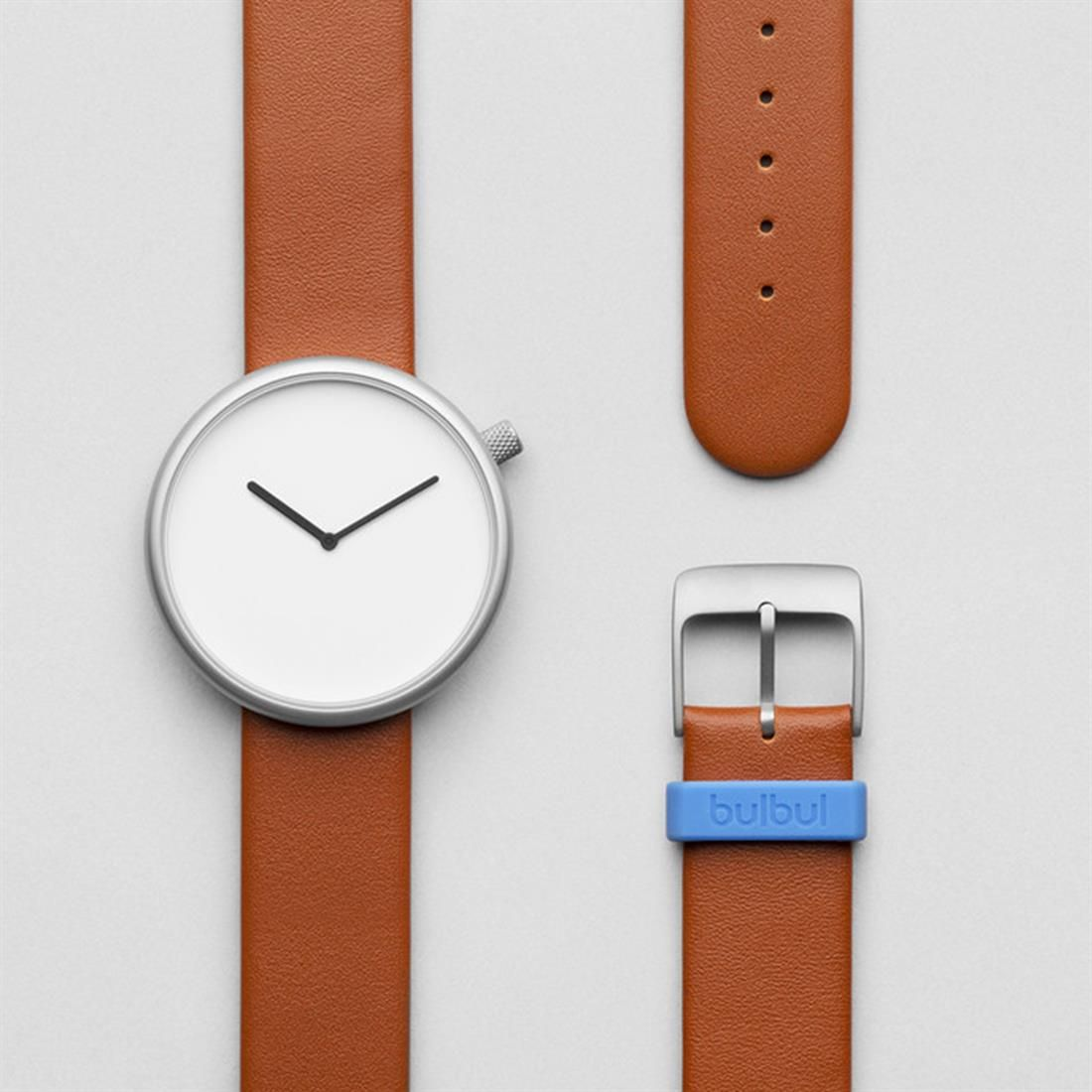 Ore Watch Matt steel on brown, Italian leather