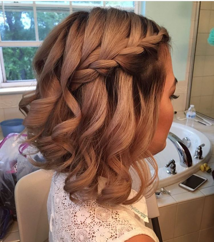 Bridesmaid short hairstyle braid wedding prom