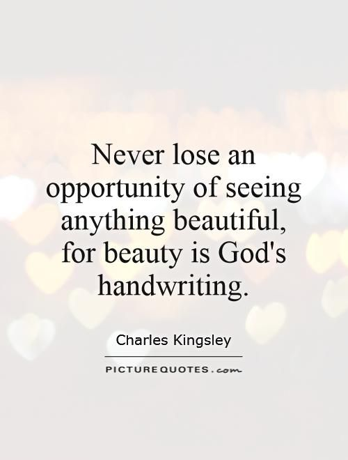Never Lose An Opportunity Of Seeing Anything Beautiful For Beauty
