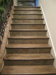 Faux Slate on Stair Risers