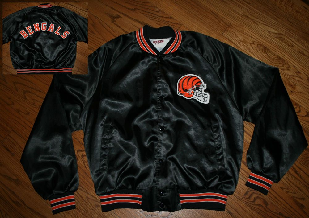 Vintage Cincinnati Bengals Football Satin Snap Jacket Men s Large Sewn   LockerRoom  CincinnatiBengals 03bc678448