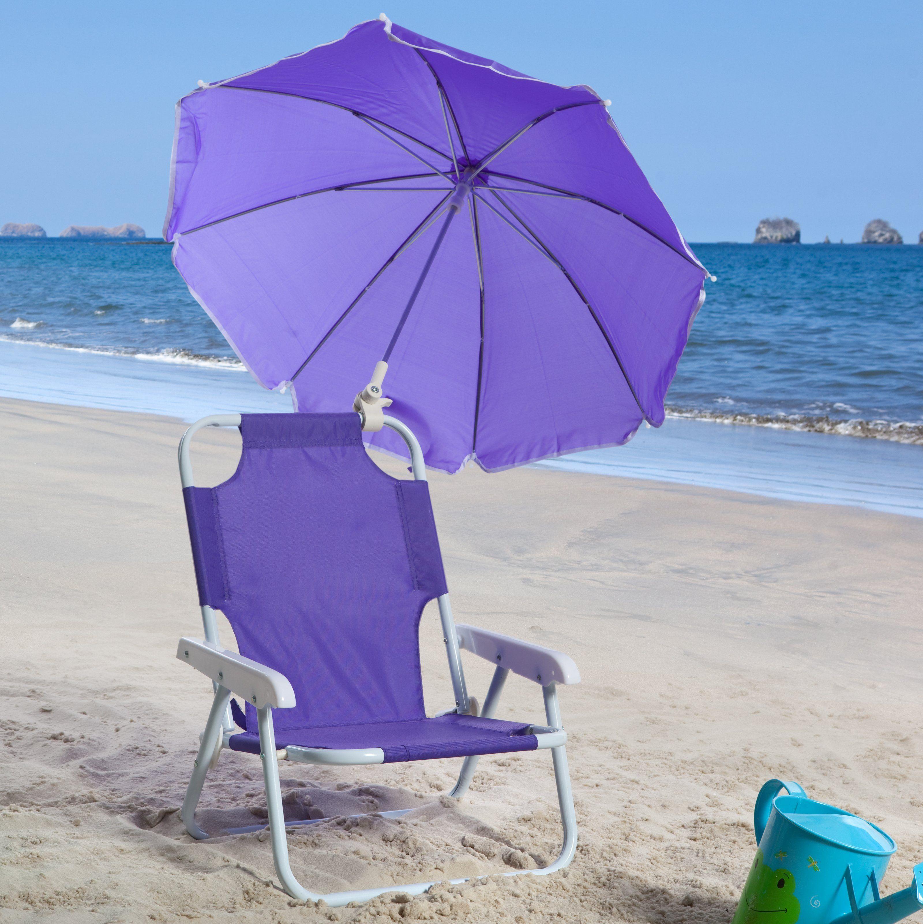 Have To Have It Kids Purple Beach Chair Umbrella 32 99 Hayneedle Com Kids Beach Chair Beach Chair Umbrella Purple Beach
