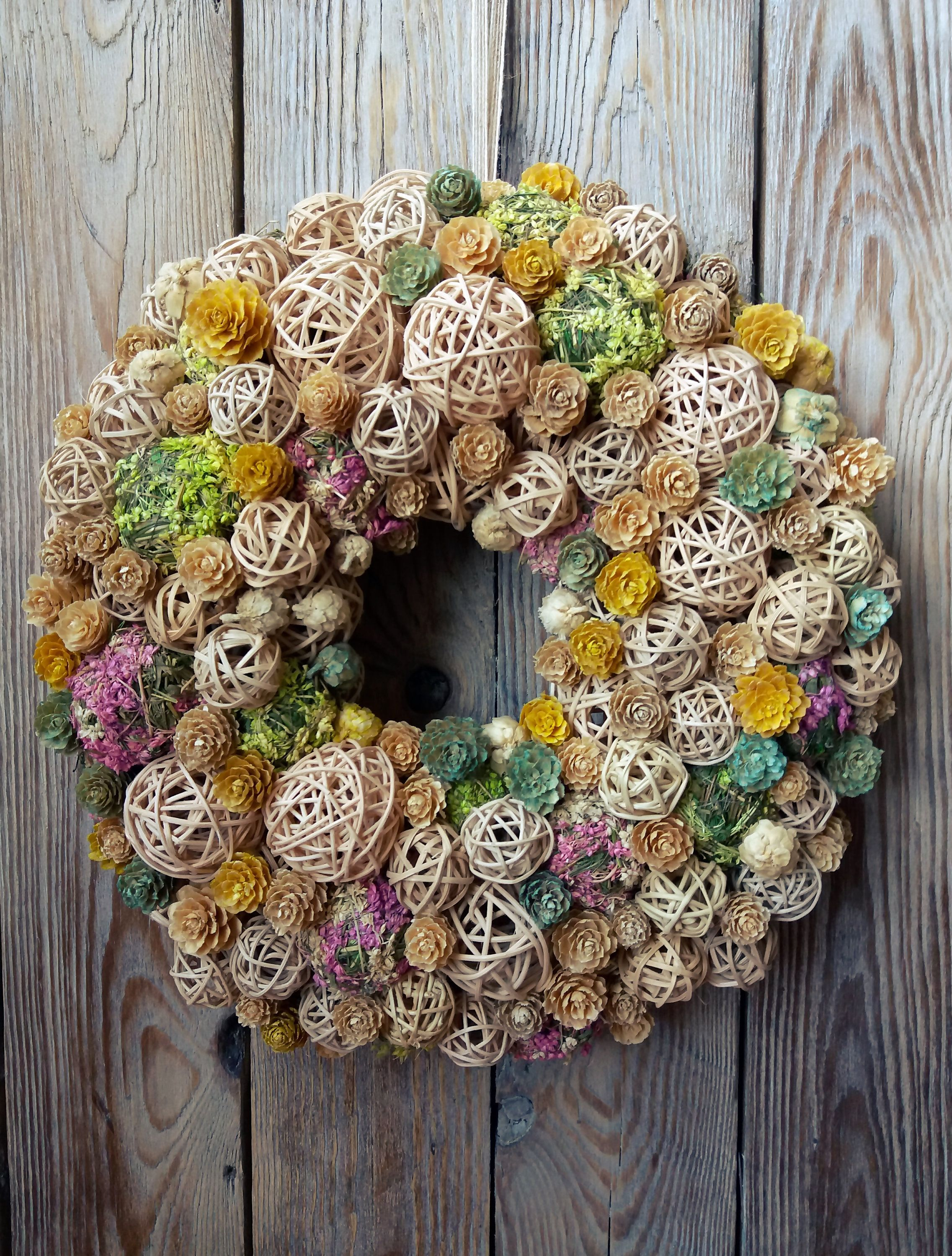 Photo of Natural wreath,summer wreath,front door wreath,table wreath,home decoration with flower and rattan ball,handmade wreath,hausewarming gift