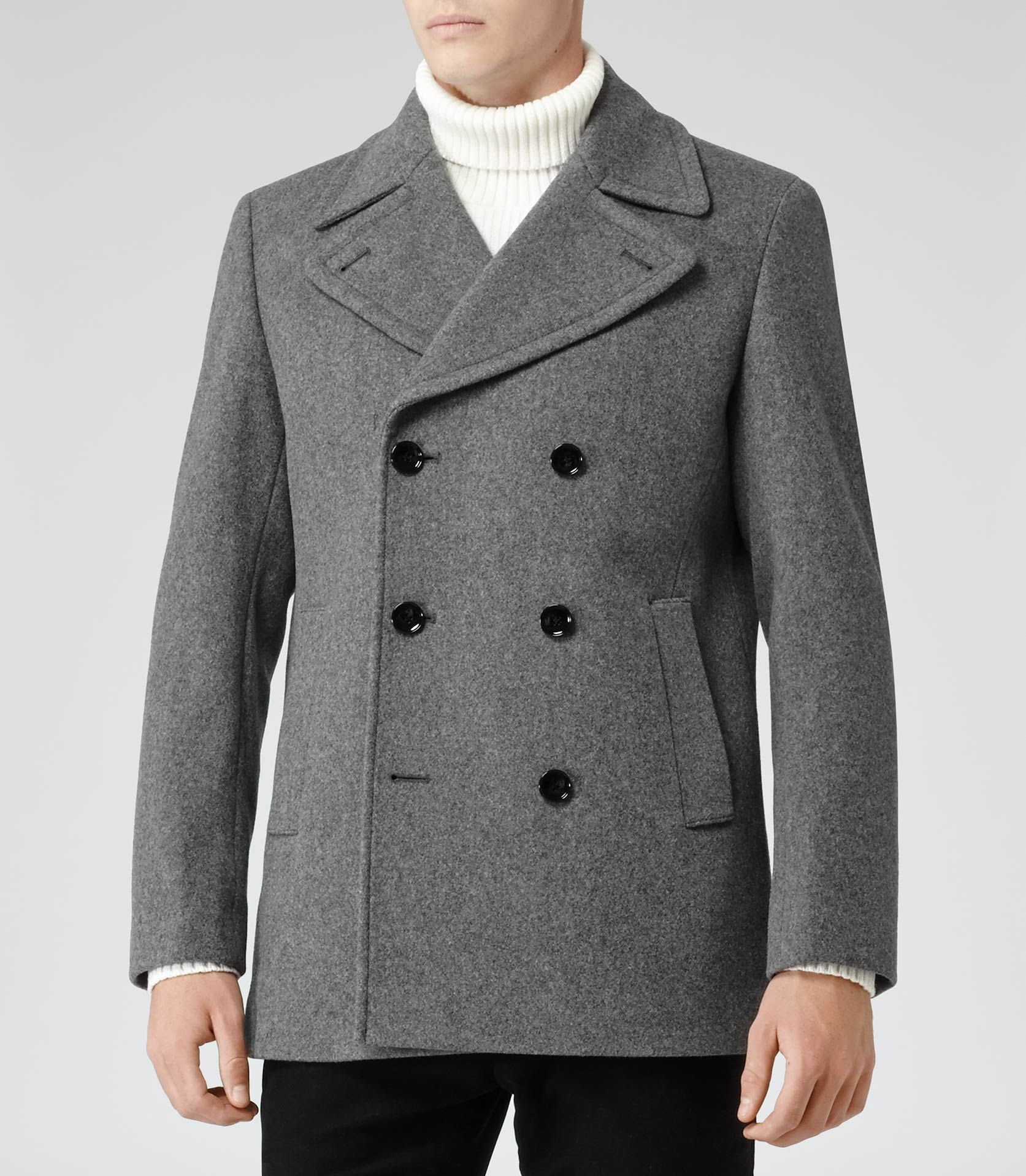 Mens Grey Wool-rich Peacoat - Reiss Roman | Z shopping | Pinterest ...