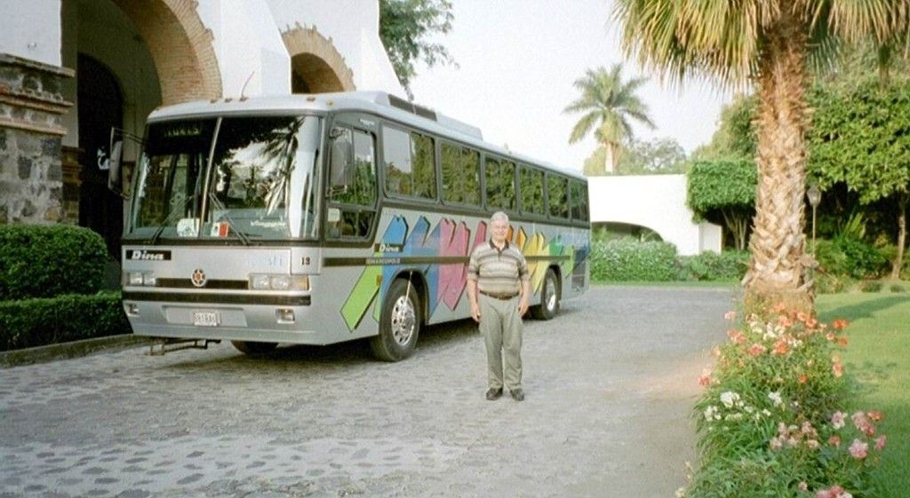 Our bus at the Hotel Hacienda Cocoyoc