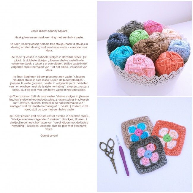 Flower granny square – free pattern in Dutch by Made with Loops ...