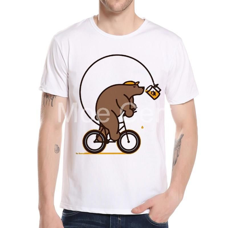 b7437328575a Newest 2017 Fashion Bear riding bicycle chase cans Design T Shirt Summer  Men/Boy Custom Animal T-Shirt funny print Male ops 7-30.