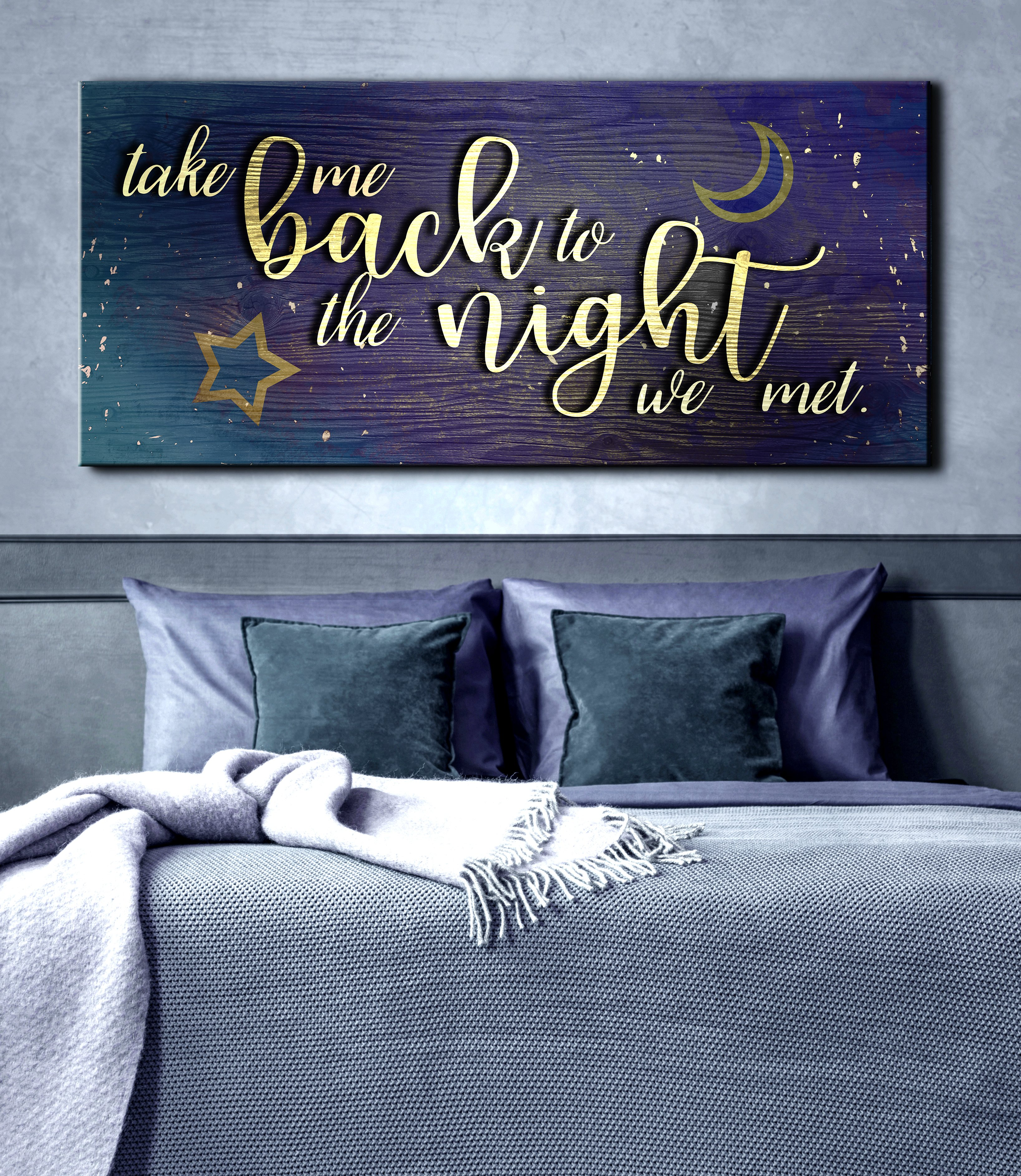 Couples Wall Art Take Me Back To The Night We Met V2 Wood Frame Ready To Hang Bedroom Decor For Couples Interior Design Living Room Wood Frame