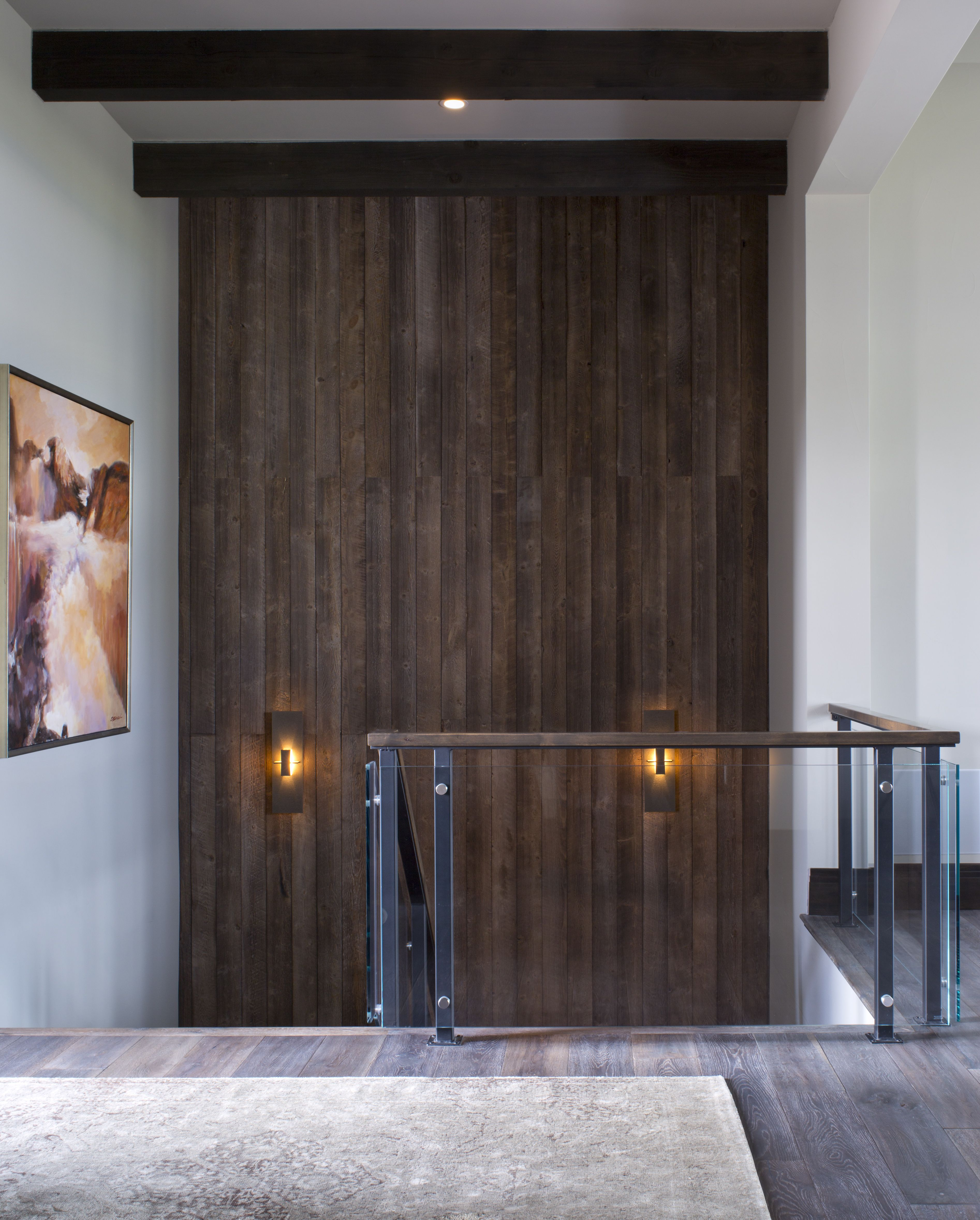 Accent Wall Dual Staircase: A Demure And Modern Staircase Accent With A Dark Wood Wall