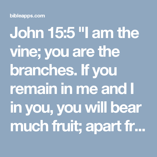 "John 15:5 ""I am the vine; you are the branches. If you remain in me and I in you, you will bear much fruit; apart from me you can do nothing."