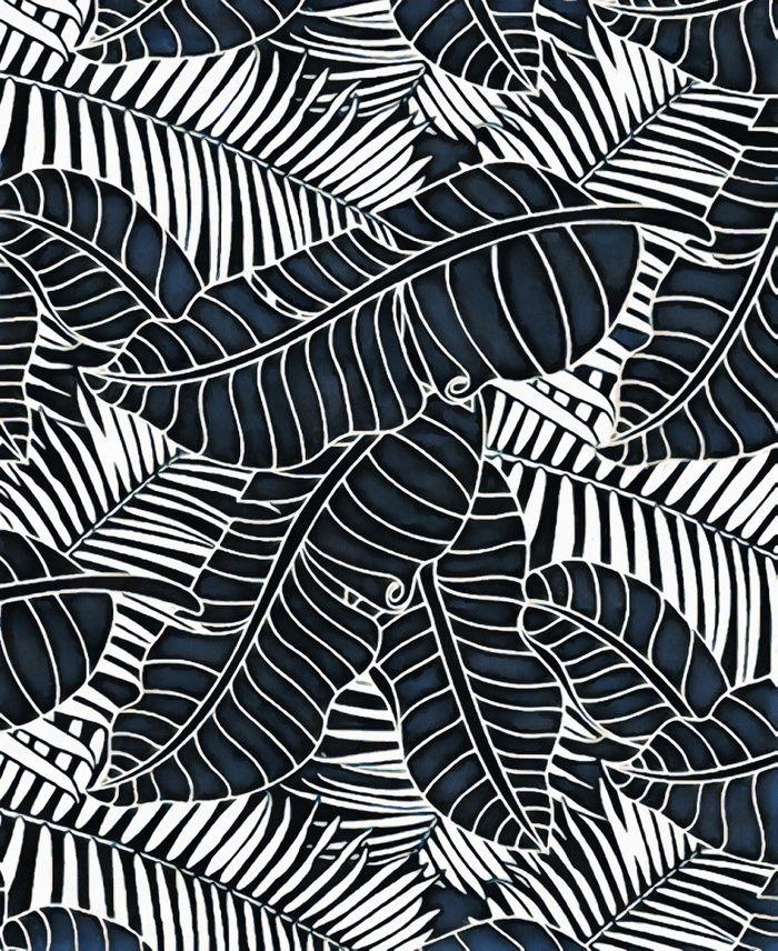 Banana Leaves And Palm Tree Graphics Dark Indigo And White Palm