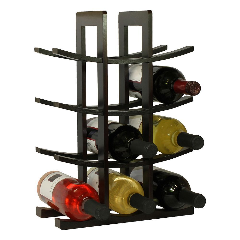 Oceanstar 12 Bottle Bamboo Wine Rack Brown Wine Bottle Glass