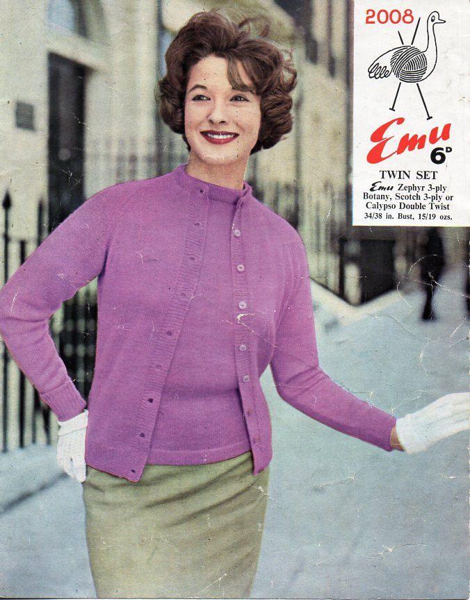 vintage ladies 3ply twin set cardigan sweater knitting pattern PDF ...