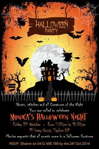 spooky nights halloween party digital printable invitation