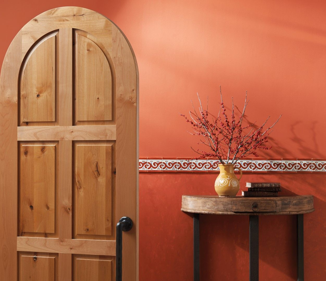 Trustile Mediterranean Door Collection Ts6090 Radius Top In Knotty Alder With Square Stick Ss Sticking And Raised A Panel