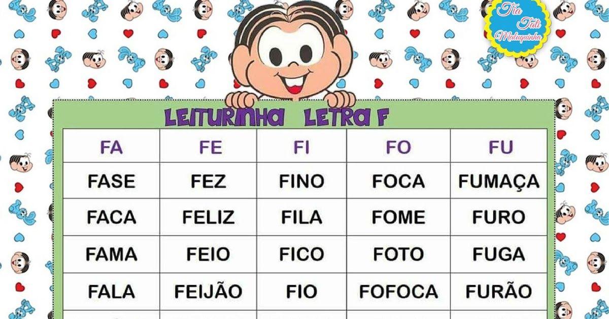 Grupo De Palavras Para Trabalhar Leitura E Ortografia Letras F G