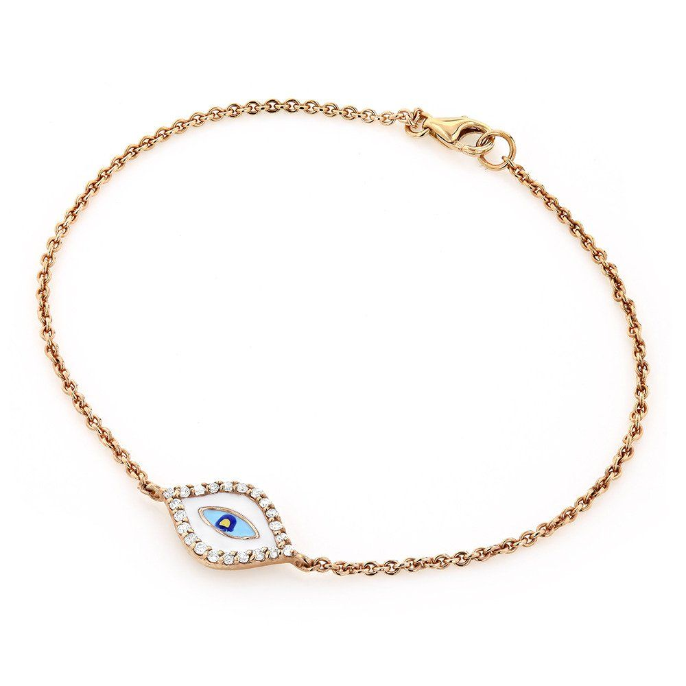 Luxurman good luck jewelry k rose gold evil eye diamond bracelet