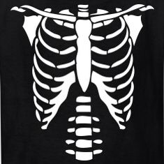 Ribcage Pumpkin Stencil Halloween Skeletons T Shirt Costumes Inexpensive Costume