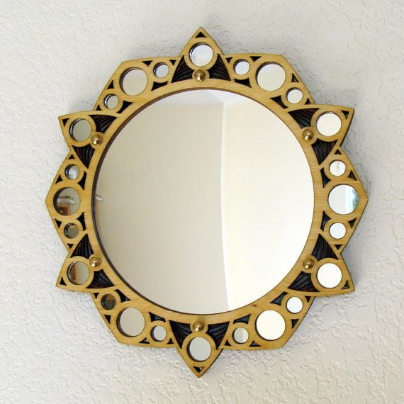 Starlight Mirror Laser Cut Wood Frame 7 Mirror Surrounded By 24