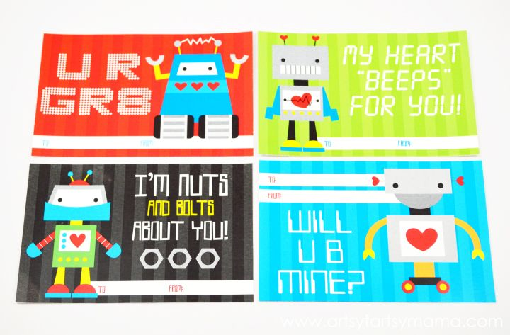 Free Printable Robot Valentines Valentines For Boys Valentines