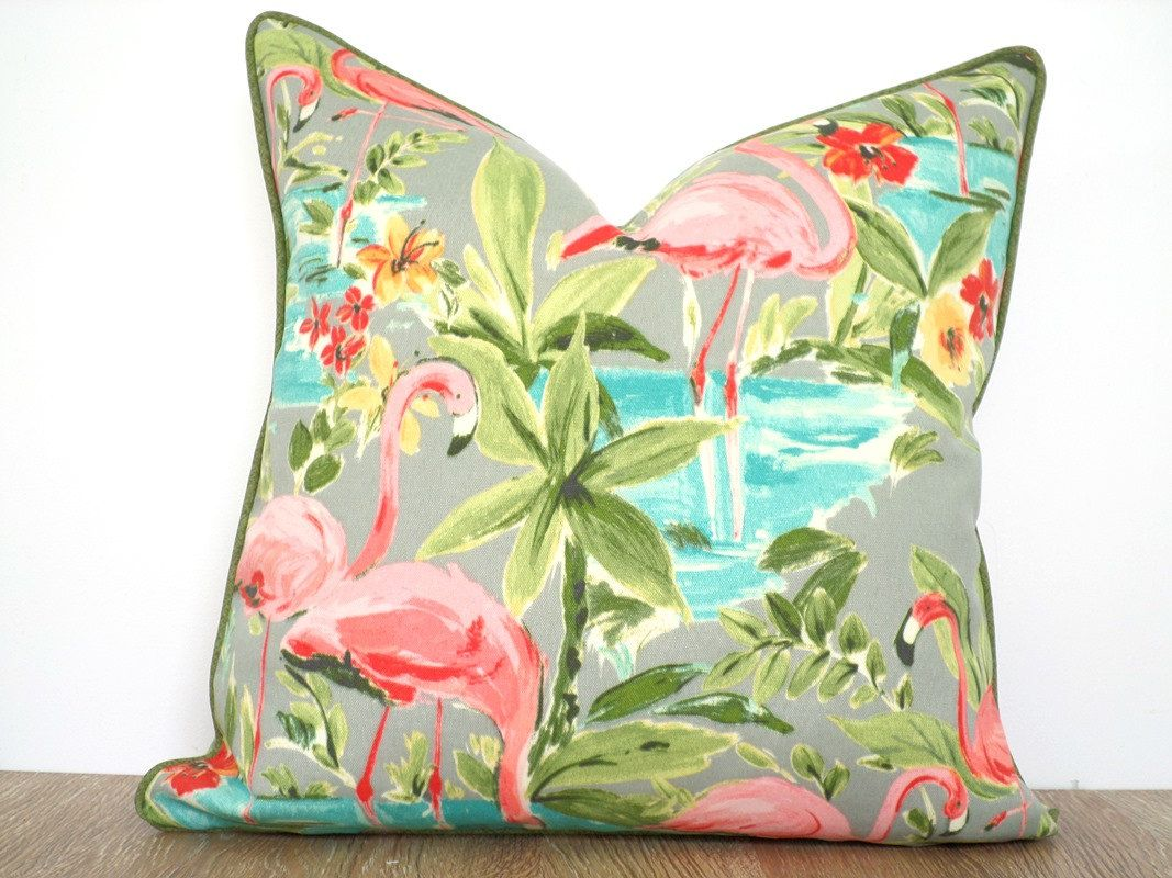 Pink Flamingo Pillow Cover Tropical Decor, Green Outdoor Cushion Island  Decor, Beach House Pillow Case, Pink Outdoor Cushion Piping By Anitascasa  On Etsy