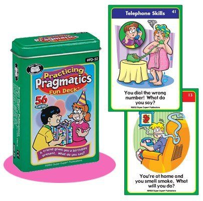 Practicing Pragmatics Fun Deck Cards - Super Duper Educational Learning Toy for Kids by Super Duper Publications. $12.95. Having good pragmatic skills is a must for every child. This Practicing Pragmatics Fun Deck will help your children improve a wide range of essential skills - politeness, problem solving, expressing feelings, giving information, asking questions, telephone manners, and staying on topic. The deck has 52-scenes, four bonus playing cards for game...