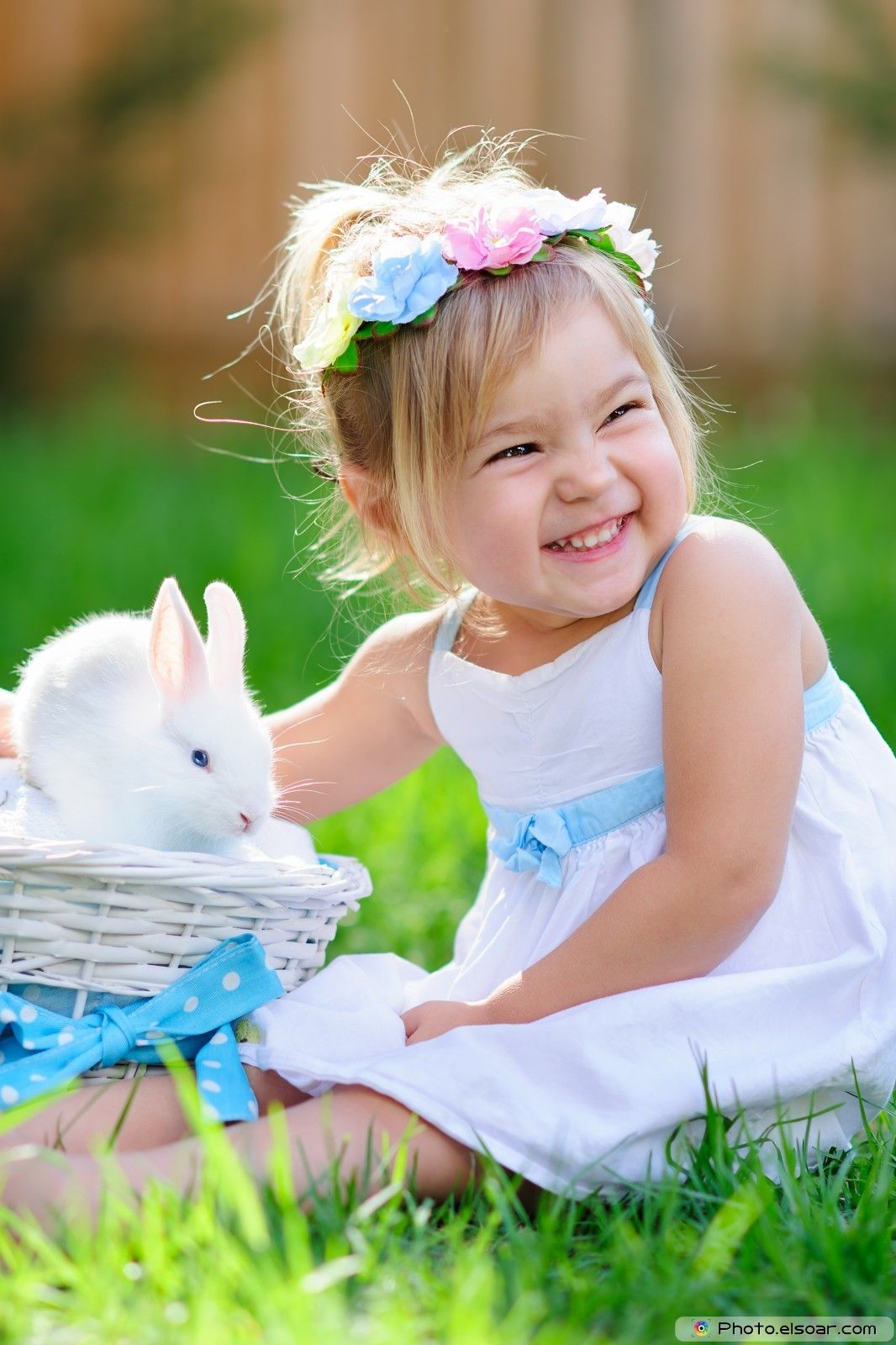 Cute little girl with rabbit Precious