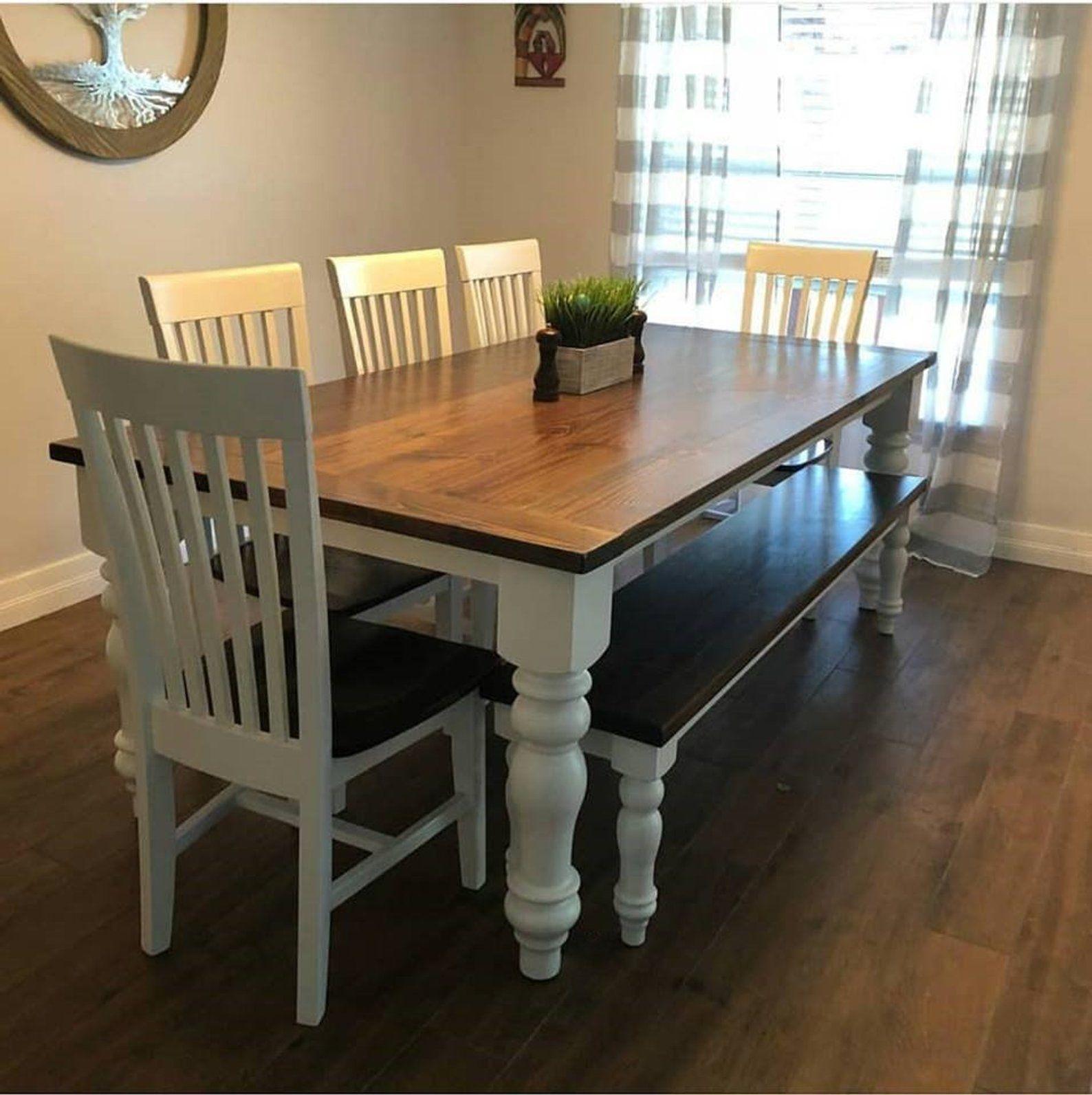 Farmhouse Dining Table White Legs Novocom Top