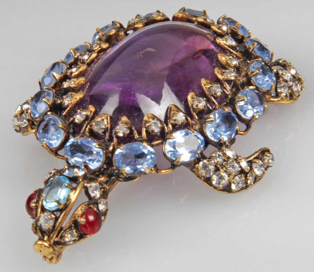 Jewelled Tortoise Brooch by Iradji Moini | From a unique collection of vintage brooches at https://www.1stdibs.com/jewelry/brooches/brooches/