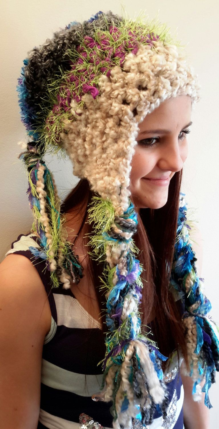 e837de1f058 Crochet hippie hat. Made by Bead Gs on ETSY. Ladies Size. Funky hat. gypsy  by BeadGs on Etsy