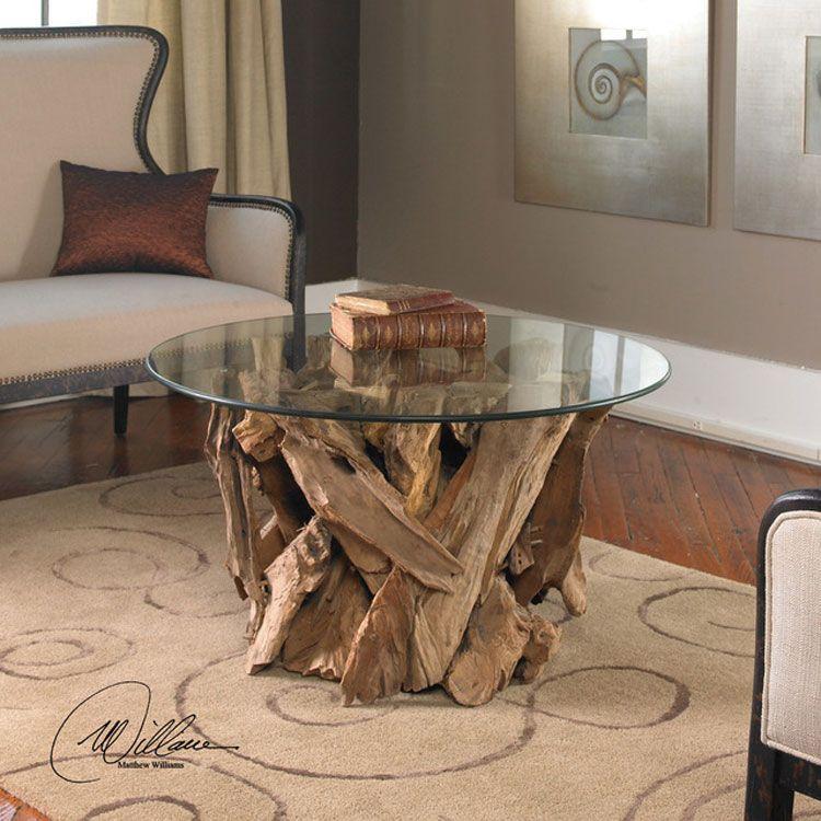 Tavolino con base in teak grezzo e superficie in vetro