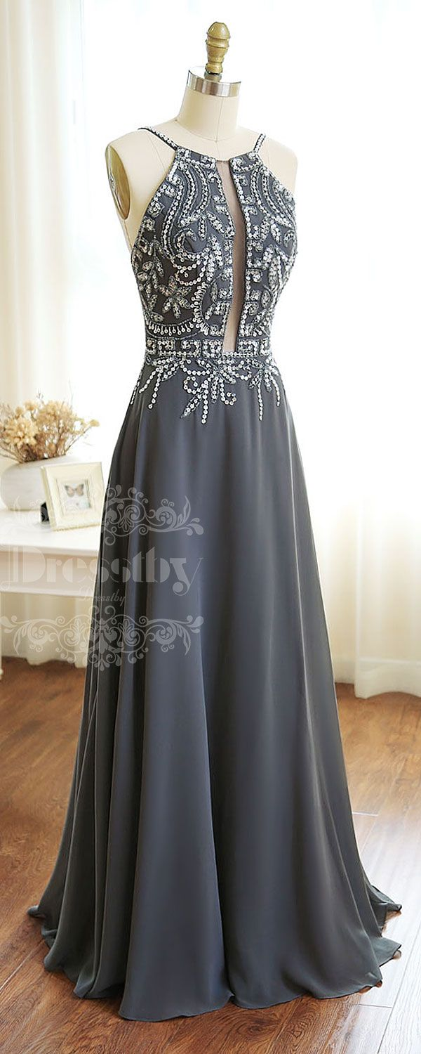 Sequin Prom Dresses Dark-Gray