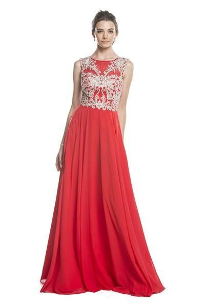 Beaded Evening A-Line Long Prom Dress APL1684