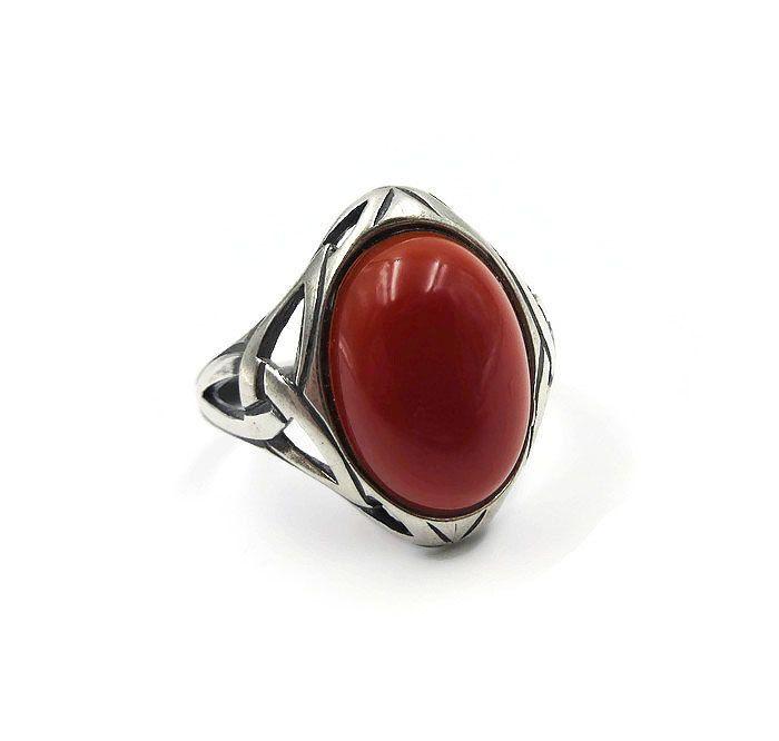Vintage Celtic Sterling Silver Carnelian Ring Irish Symbol Inner