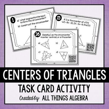 Centers Of Triangles Task Cards Includes Constructions Task Cards Task Card Activities Geometry Activities