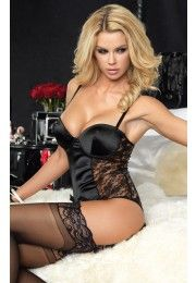 81350 Satin Side Lace Teddy BLACK