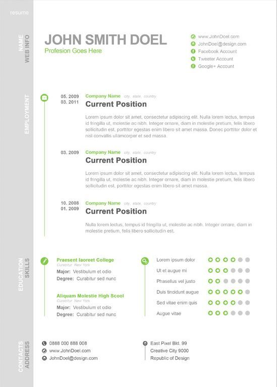 Resume Templat Modern One Page Resume Template  Creative Resume Templates