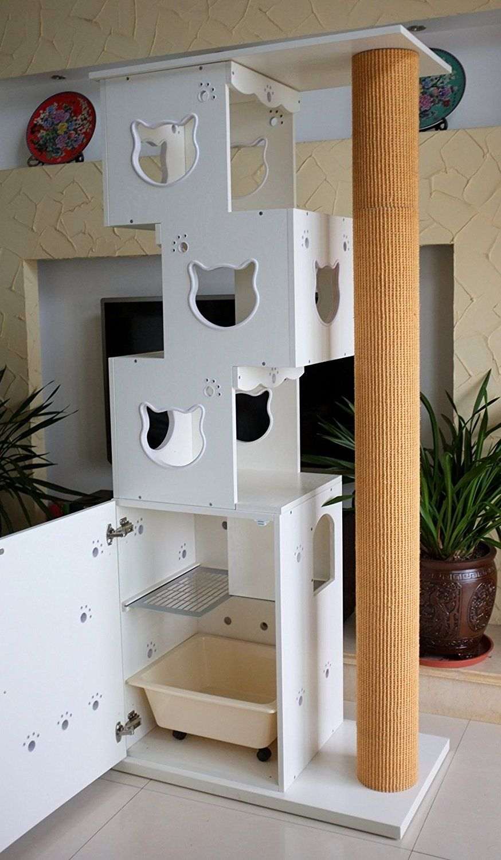 Cats Design 2 In 1 Kletterbaum Katzentoilette D 4 Amazon De Haustier Cat Wall Furniture Cat House Diy Cardboard Cat House