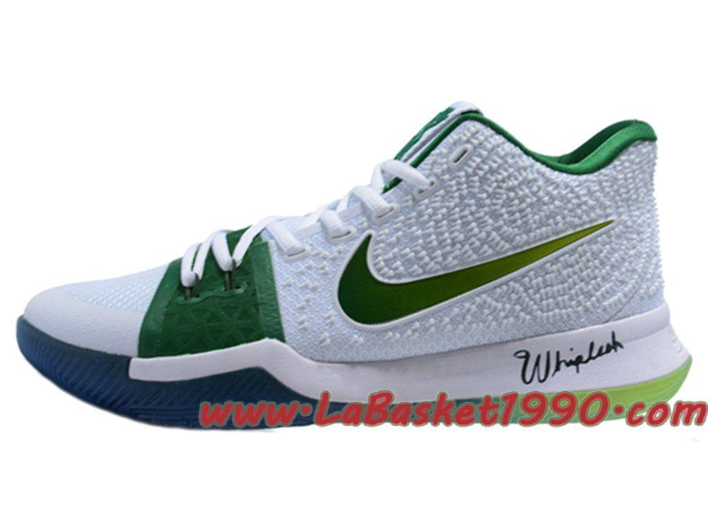 437473c1e951b Nike Kyrie 3 ID Chaussures de BasketBall Pas Cher Pour Homme Blanc Vert
